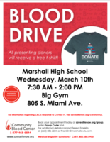Marshall High School Blood Drive to Benefit Local Patients