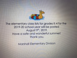 Elementary class list available soon!