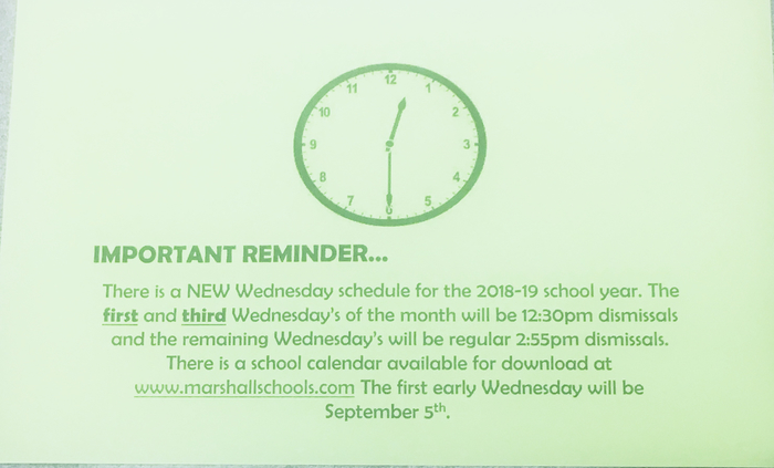 Wednesday early release info
