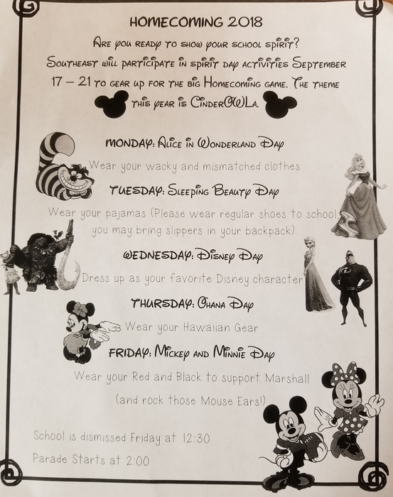 Homecoming spirit dress up days