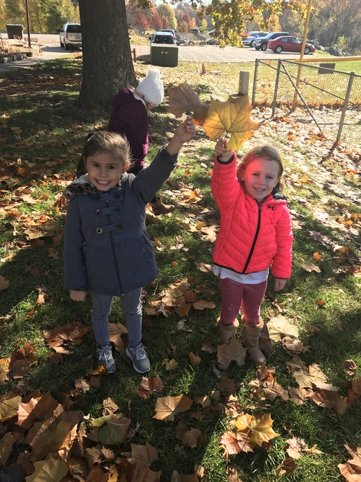 Girls and leaves