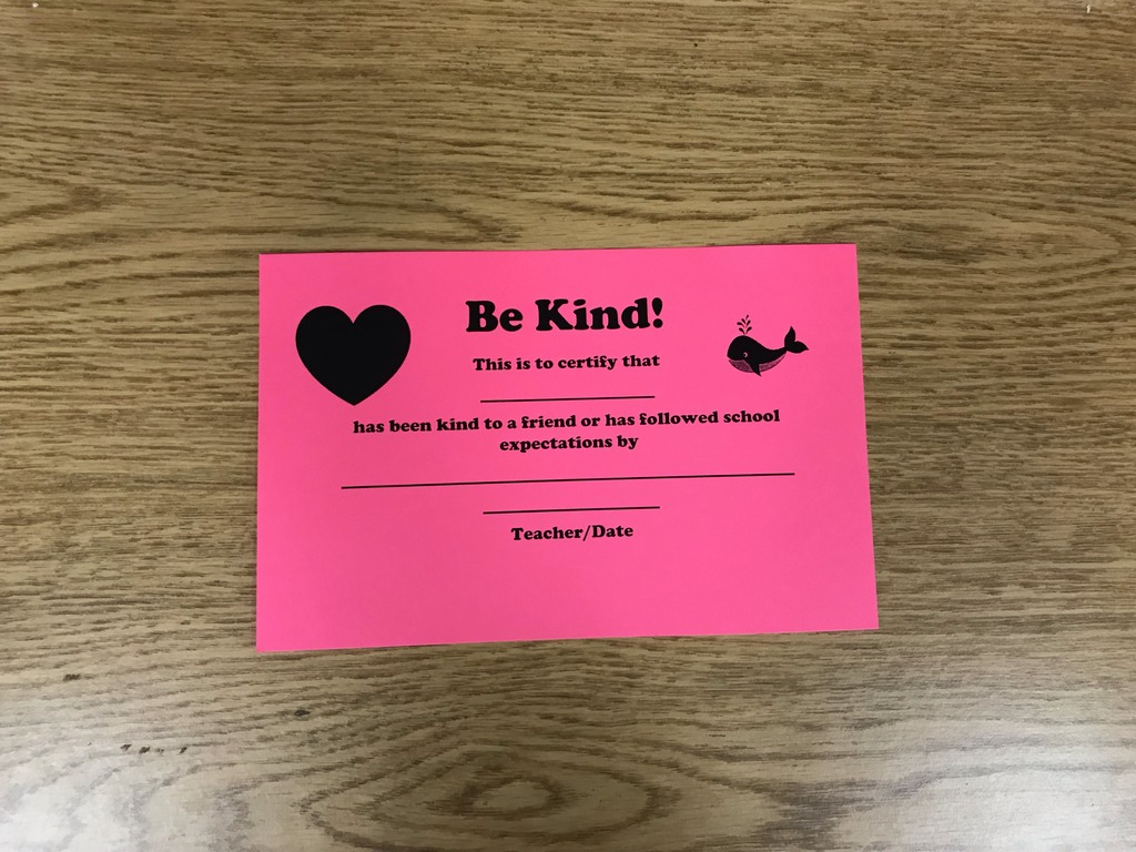 """Be Kind"" Certificate"