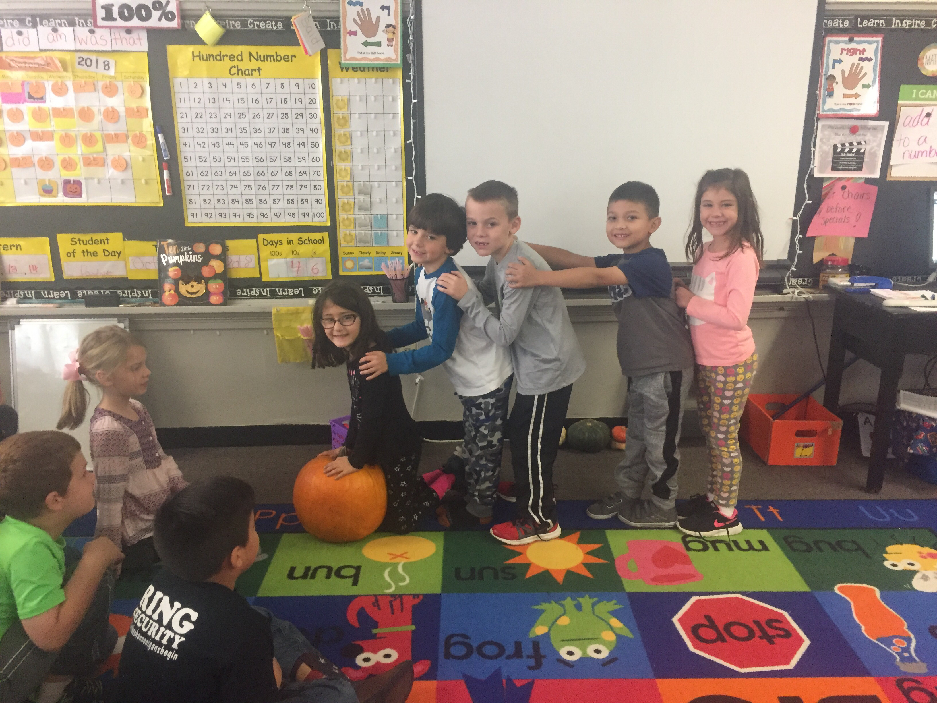Miss Tracy's class has been practicing story recall by acting out different character rolls in Big Pumpkin by Erica Silverman!